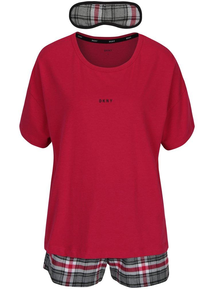 Set cadou pijama roz si masca pentru dormit DKNY