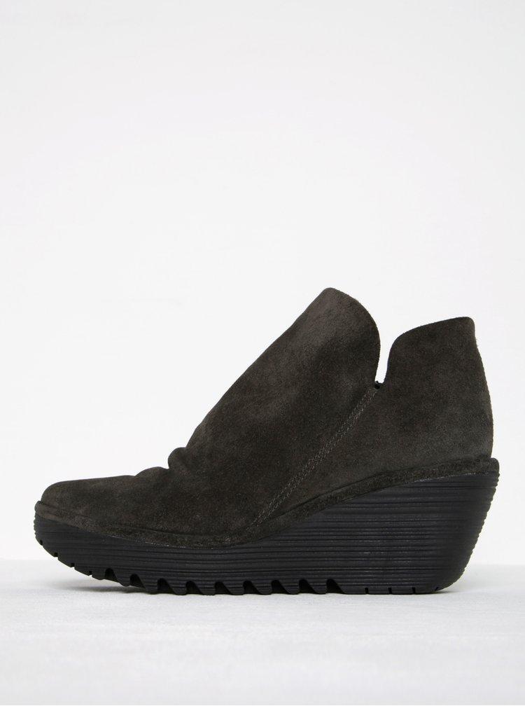 Tmavě šedé dámské semišové kotníkové boty FLY London