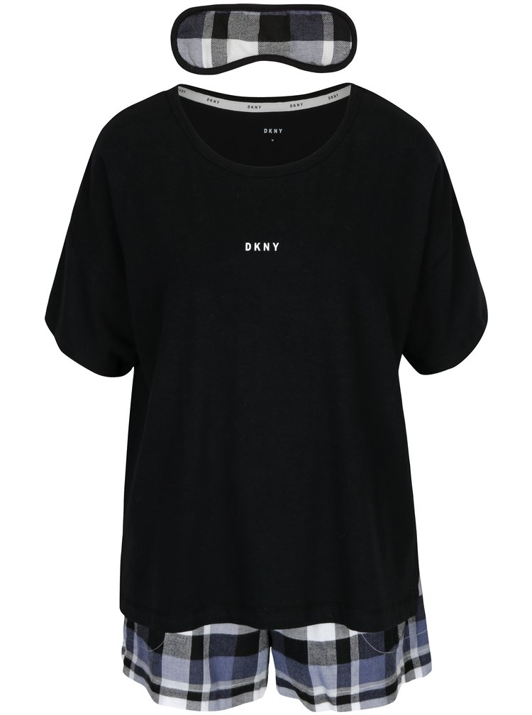 Černé dvoudílné pyžamo a maska na spaní DKNY