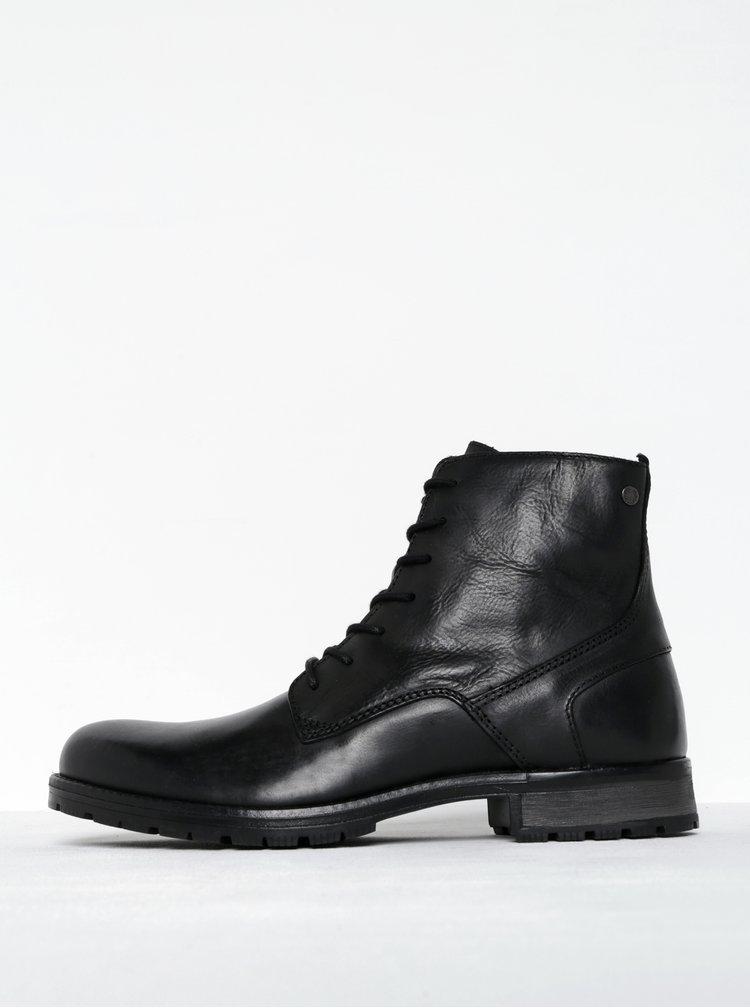 Černé kožené kotníkové boty se zipem Jack & Jones Worca