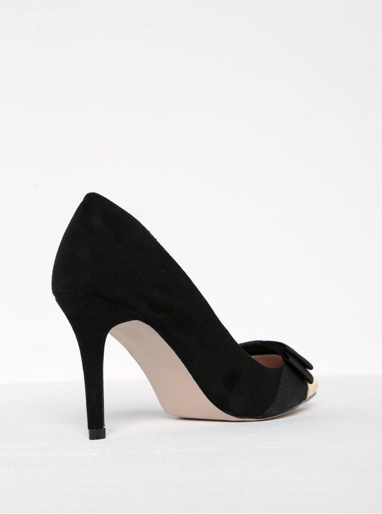 Pantofi negri cu toc stiletto si varf ascutit auriu- Miss KG Alyssa