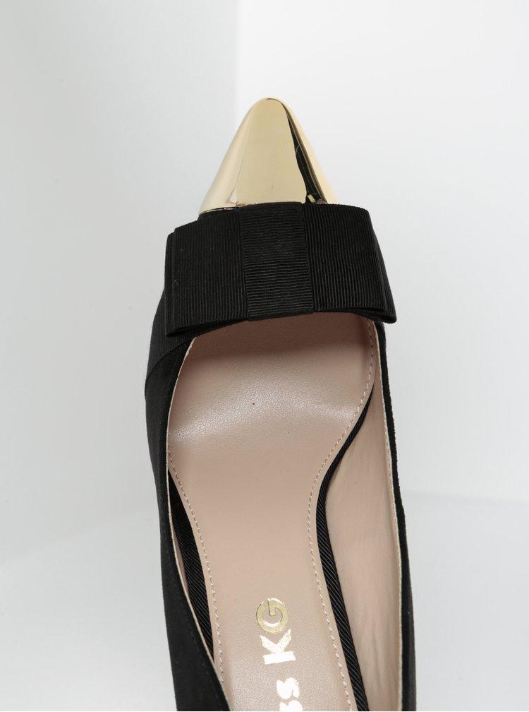 Pantofi negri cu toc stiletto și vârf ascuțit auriu- Miss KG Alyssa