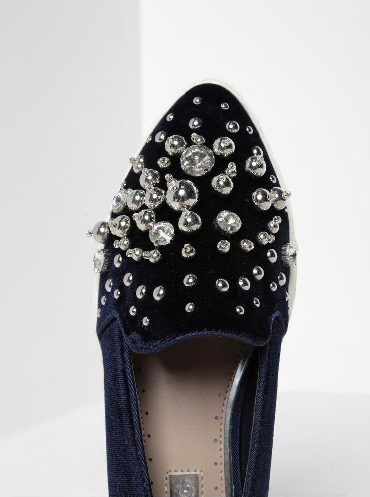 Tmavě modré sametové mokasíny s kamínky a korálky Miss KG Lareina