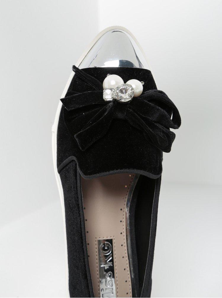 Pantofi loafer negri din catifea cu aplicatii decorative -  Miss KG Lottie