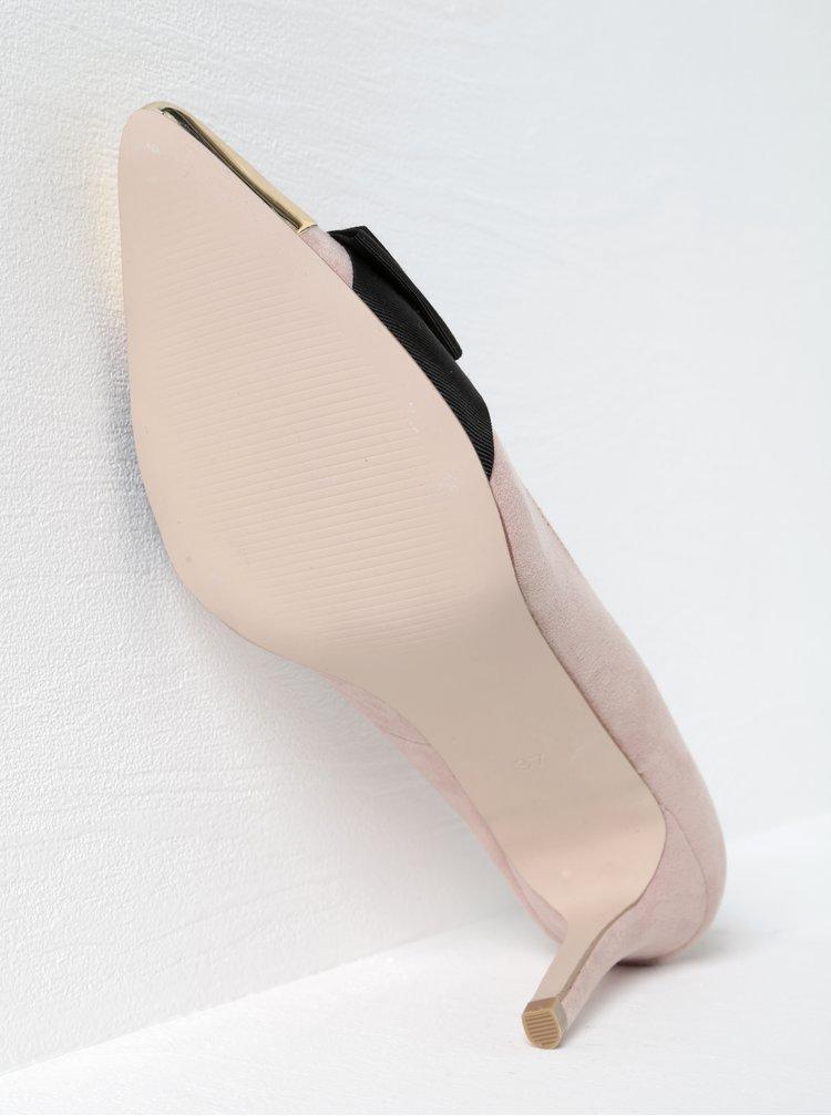 Světle růžové lodičky v semišové úpravě s mašlí a lesklou špičkou Miss KG Alyssa