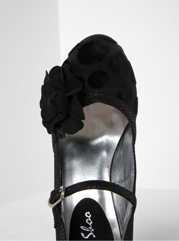 Černé puntíkované lodičky v semišové úpravě Ruby Shoo Hannah