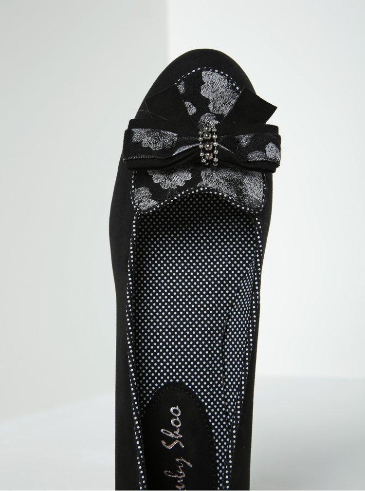 Černé lodičky v semišové úpravě s mašlí Ruby Shoo Victoria
