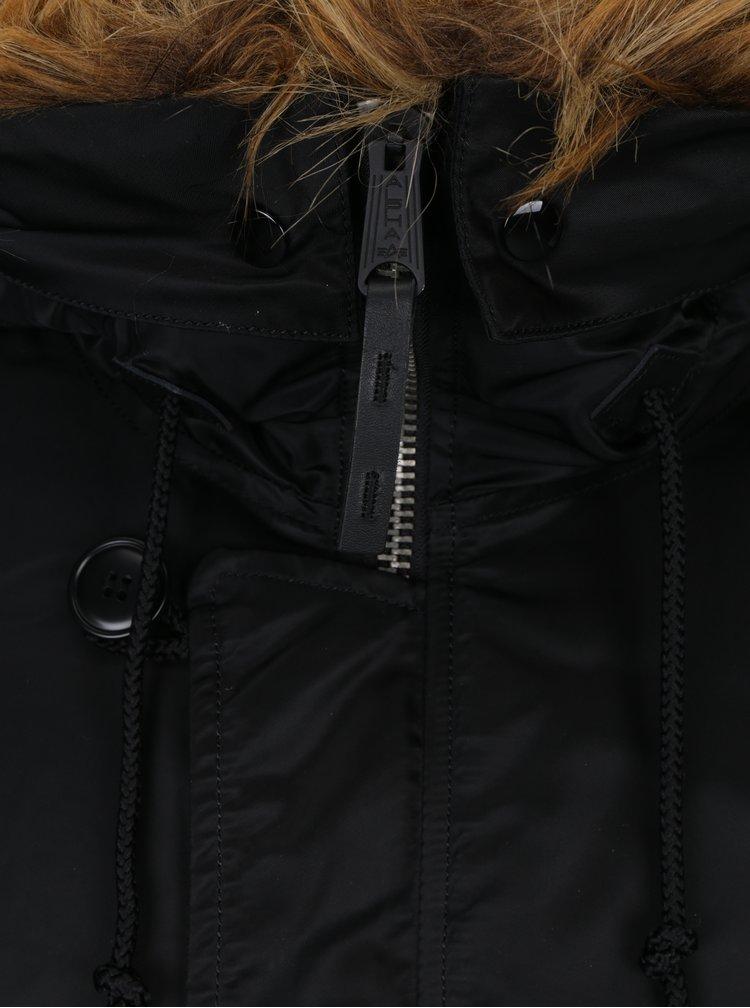 Černá pánská zimní parka s umělým kožíškem ALPHA INDUSTRIES