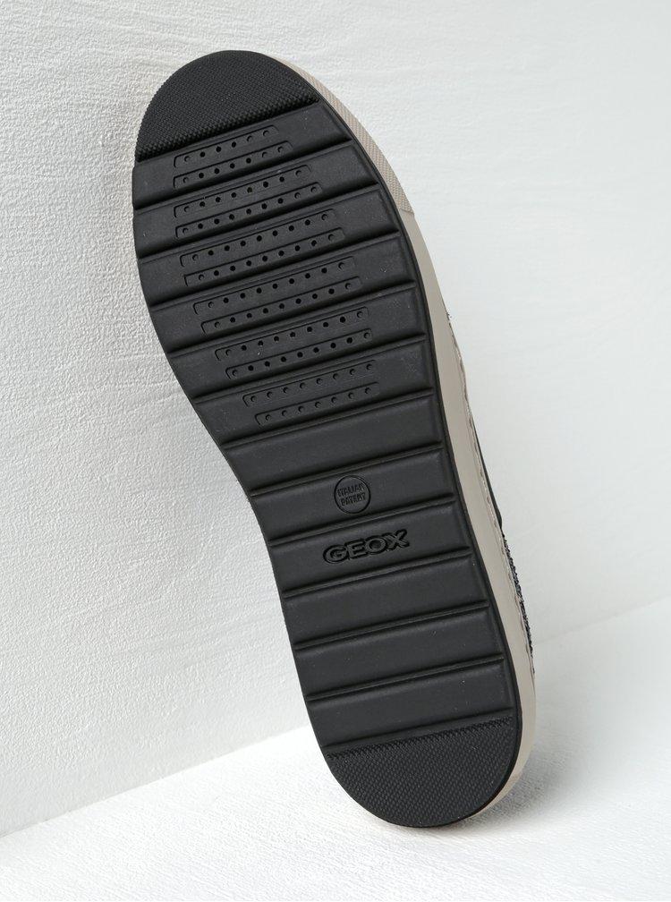 Černé dámské slip on tenisky se semišovými detaily Geox Breeda A