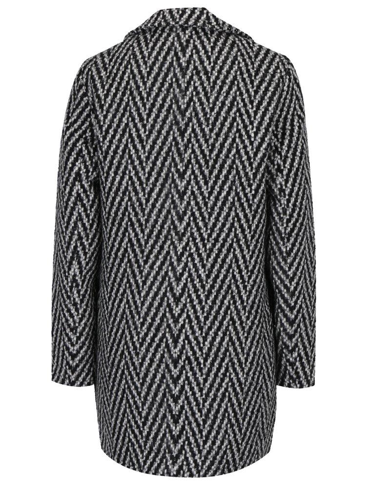 Černo-šedý vzorovaný kabát VERO MODA Paris