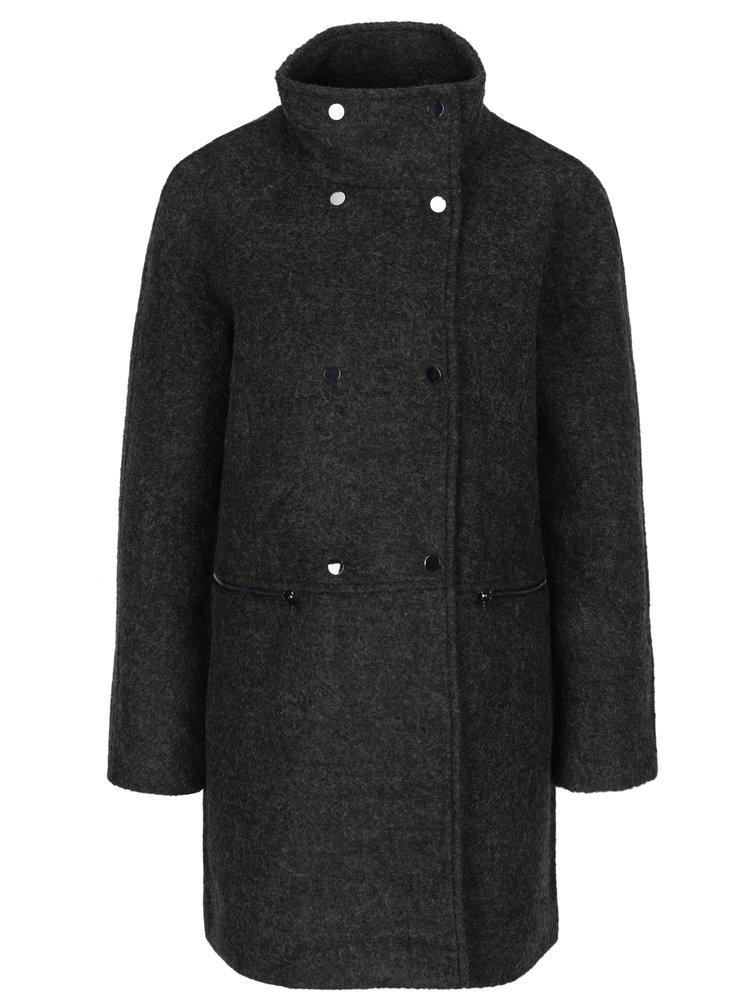 Tmavě šedý žíhaný kabát s příměsí vlny VERO MODA Emra