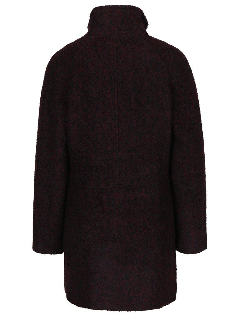 Vínový žíhaný kabát s příměsí vlny VERO MODA Emra