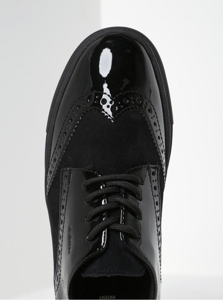 Černé dámské kožené tenisky s detaily Geox Breeda B