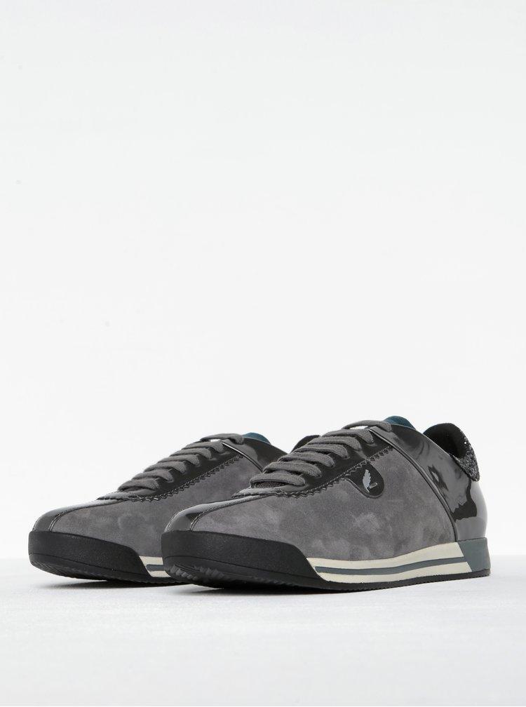 Pantofi sport gri inchis cu detalii din piele intoarsa pentru femei - Geox Chewa