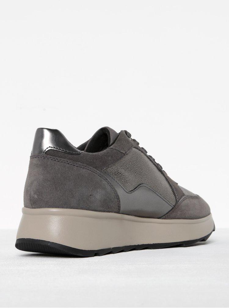 Pantofi sport gri cu platforma pentru femei - Geox Gendry