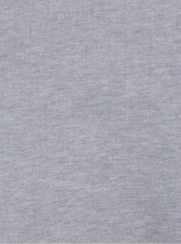 Světle šedá žíhaná mikina s krajkovým detailem VERO MODA Bessie