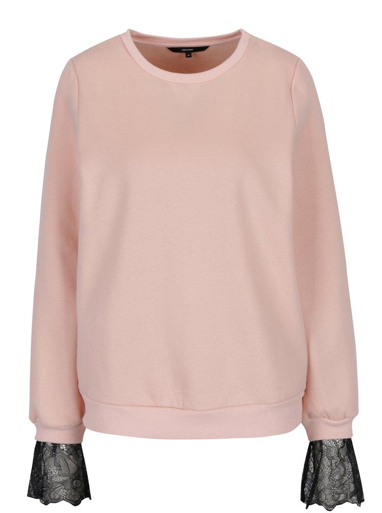 Bluza roz cu aplicatie de dantela -  VERO MODA Bessie