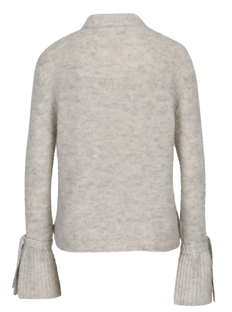 Krémový žíhaný svetr se zvonovými rukávy VERO MODA Elina
