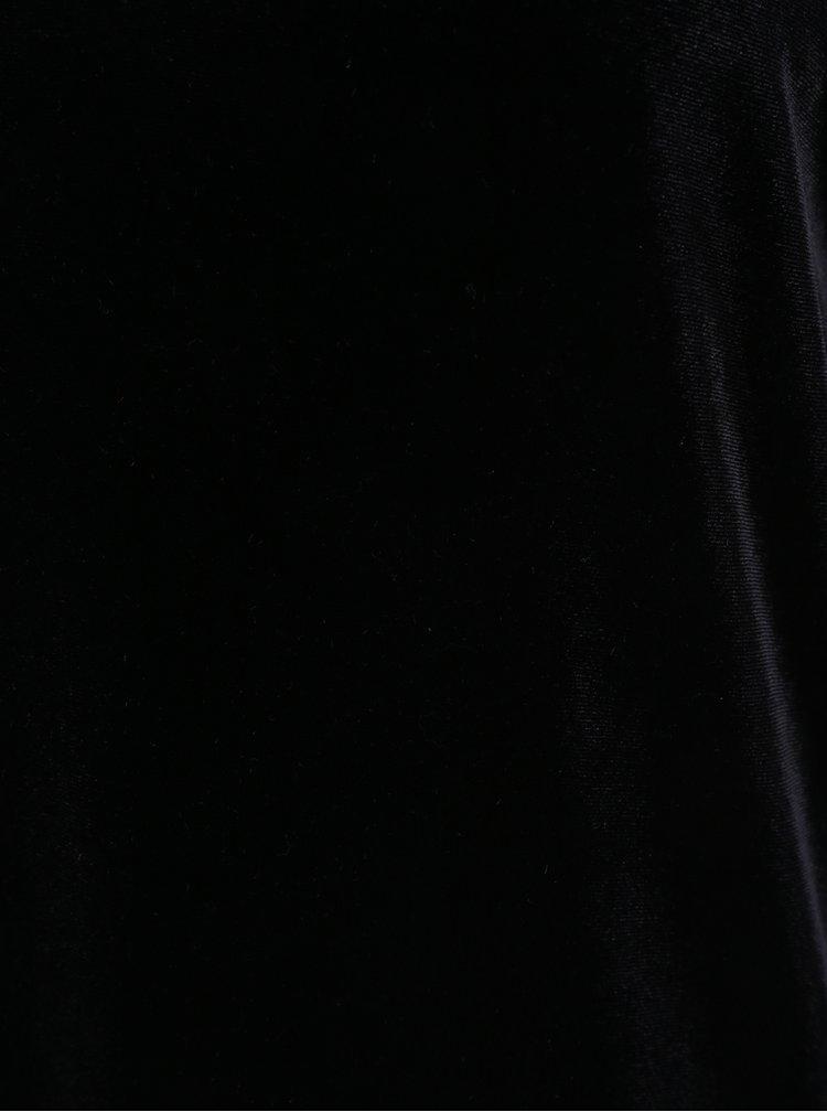 Černé sametové šaty s véčkovým výstřihem VERO MODA Agnes