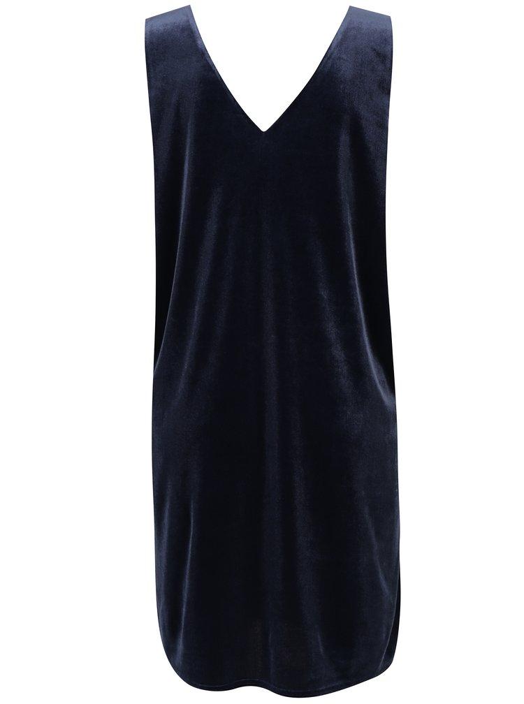 Tmavě modré sametové šaty VERO MODA Agnes