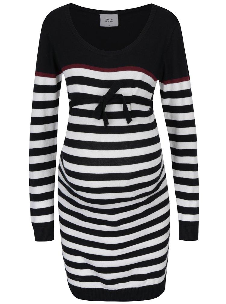 Bílo-černé pruhované těhotenské svetrové šaty Mama.licious Anic