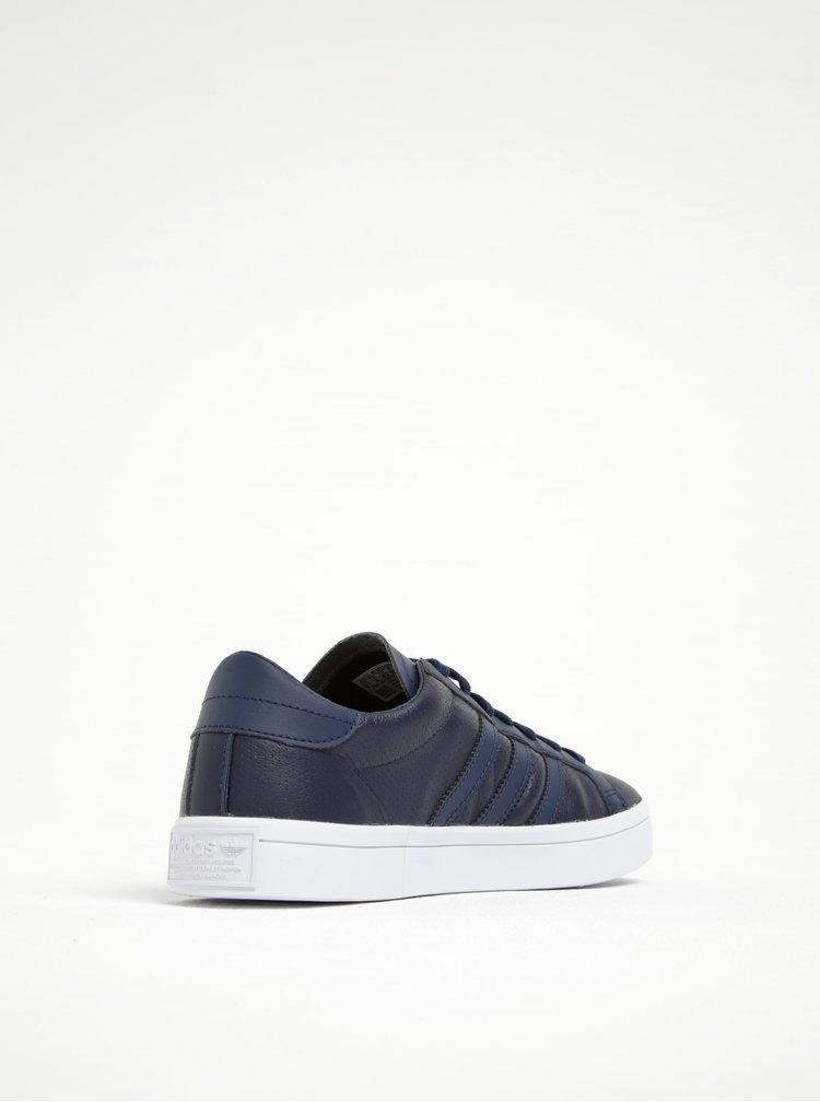 Tmavě modré pánské kožené tenisky adidas Originals Courtvantage
