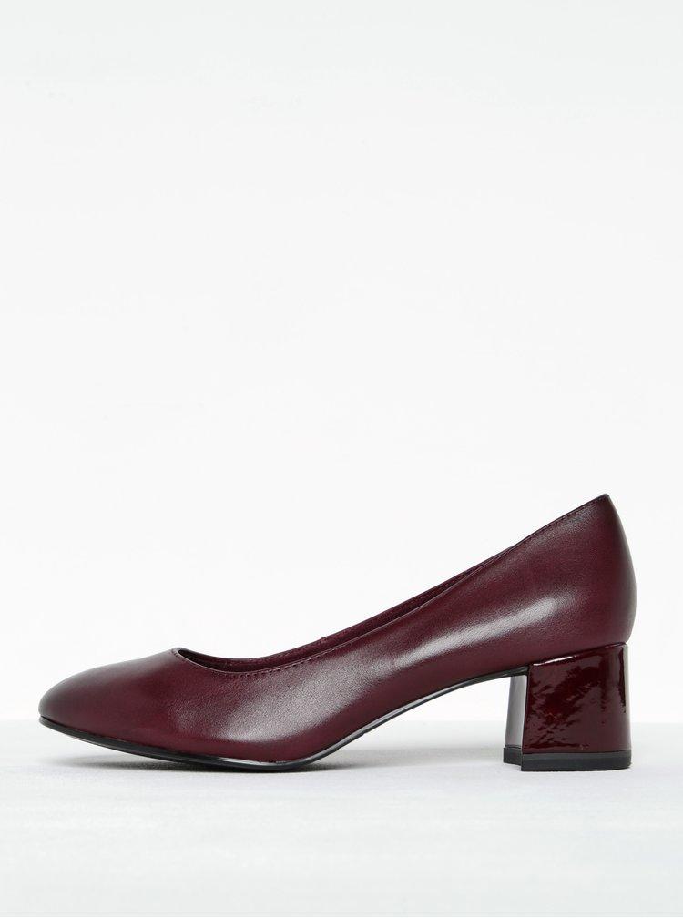Pantofi visinii din piele cu toc masiv Tamaris