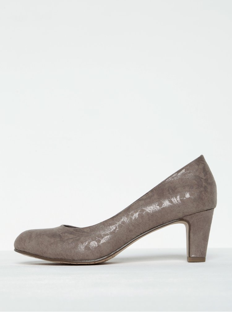 Pantofi bej cu toc si model floral Tamaris