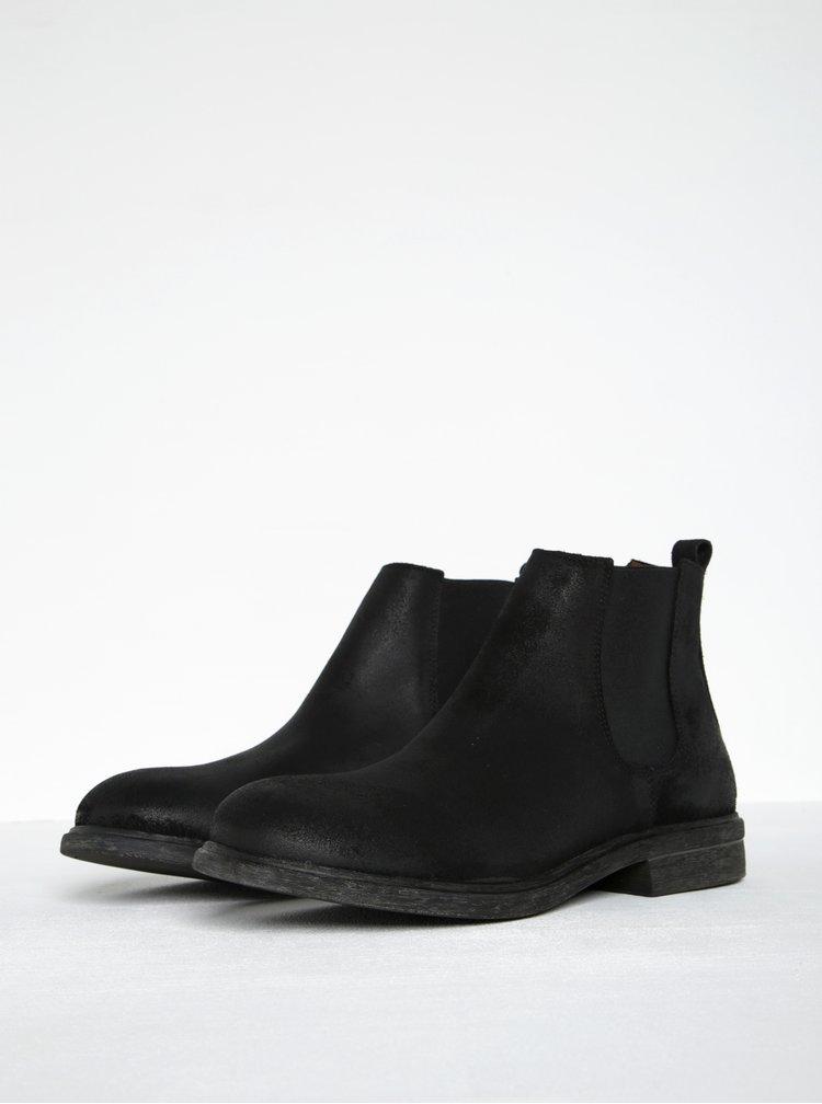 Černé kožené chelsea boty Selected Homme Trevor