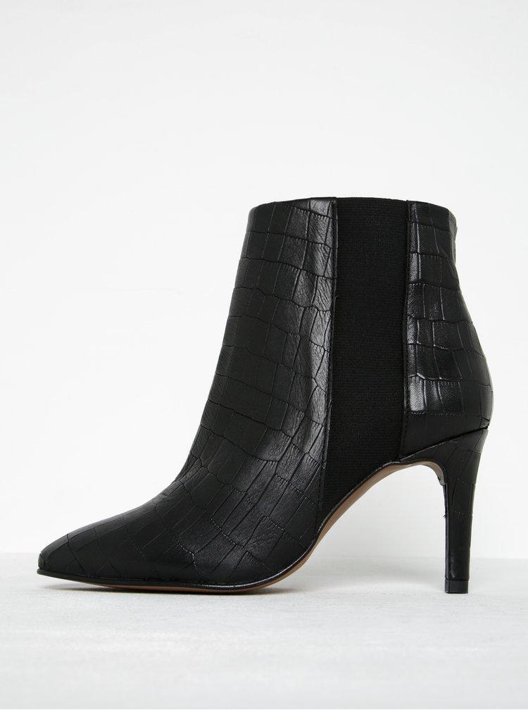 Černé kotníkové kožené boty s hadím vzorem Selected Femme Alexandra