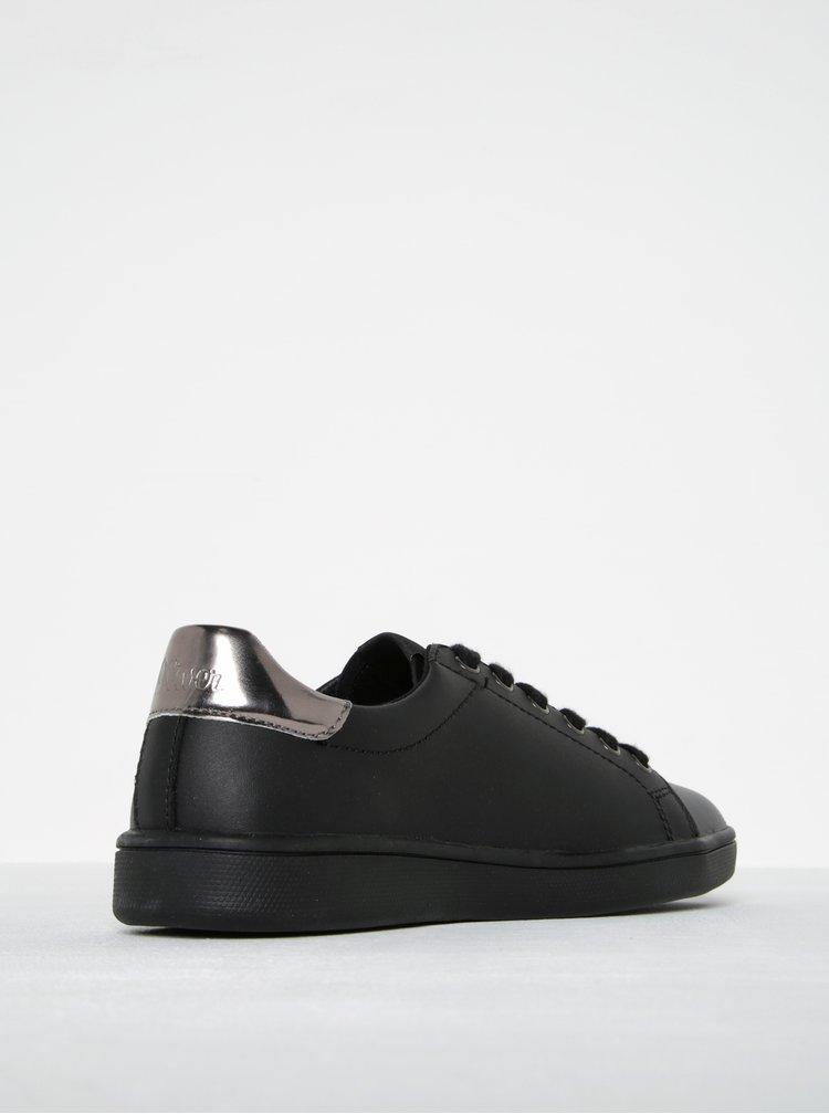 Černé dámské kožené tenisky s.Oliver