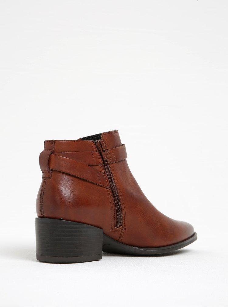 Hnědé dámské kožené kotníkové boty na širokém podpatku Vagabond Marja