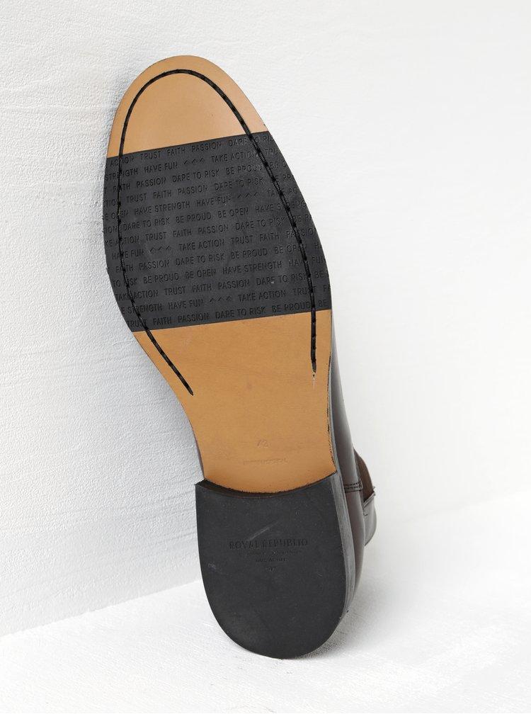 Tmavě hnědé pánské kožené chelsea boty Royal RepubliQ