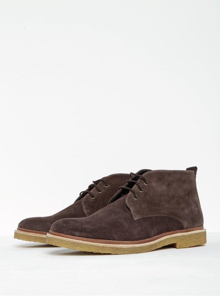 Tmavě hnědé pánské kotníkové semišové boty Royal RepubliQ