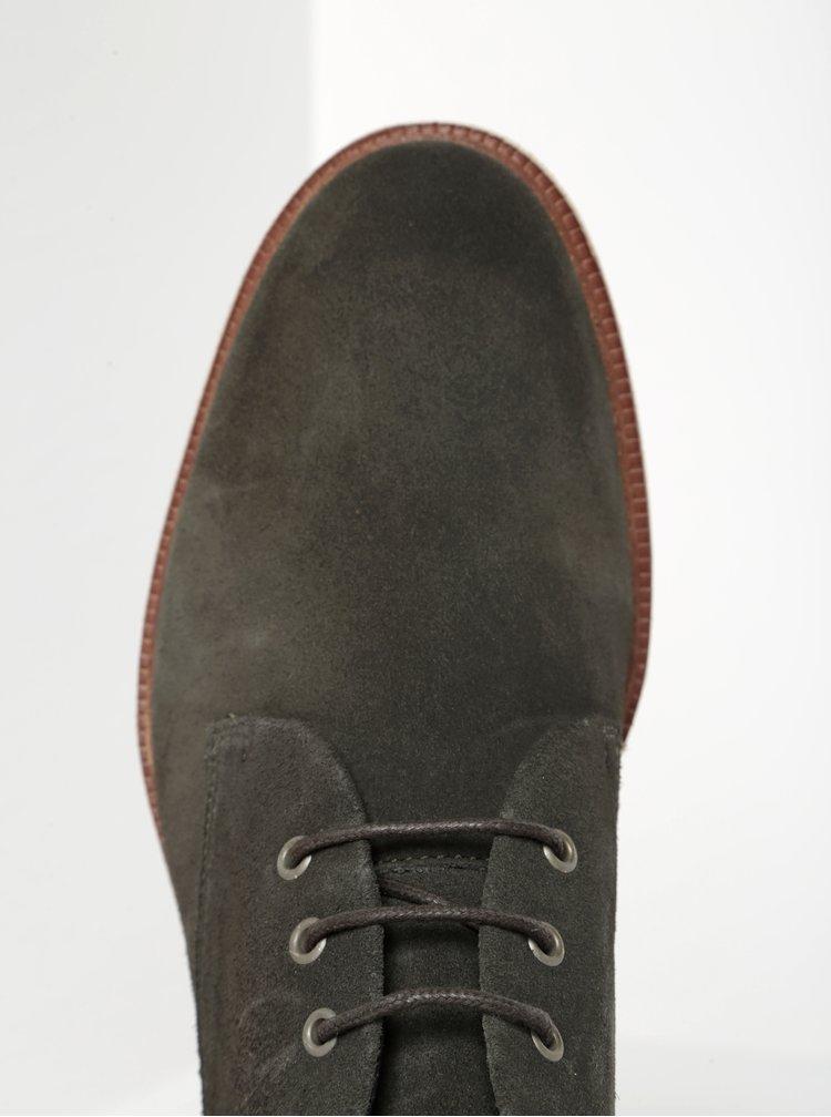 Tmavě zelené pánské semišové kotníkové boty Royal RepubliQ