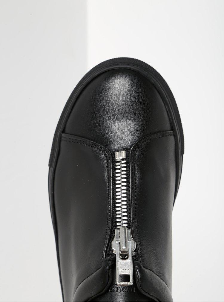 Černé dámské kožené tenisky se zipem Royal RepubliQ
