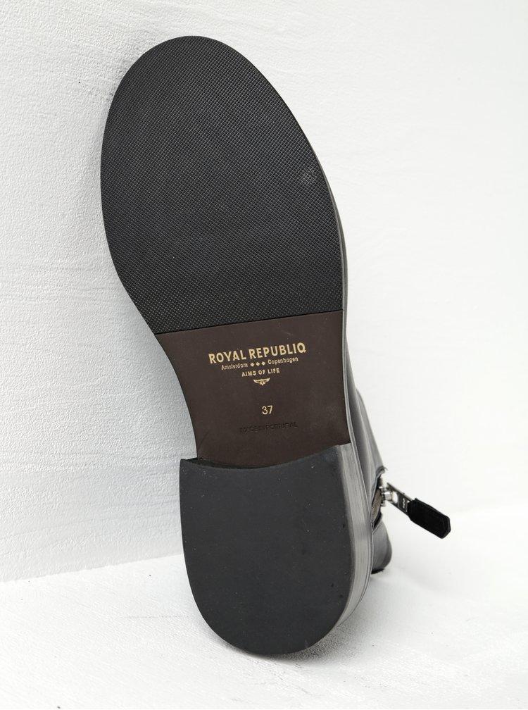 Ghete din piele naturală negre pentru femei - Royal RepubliQ