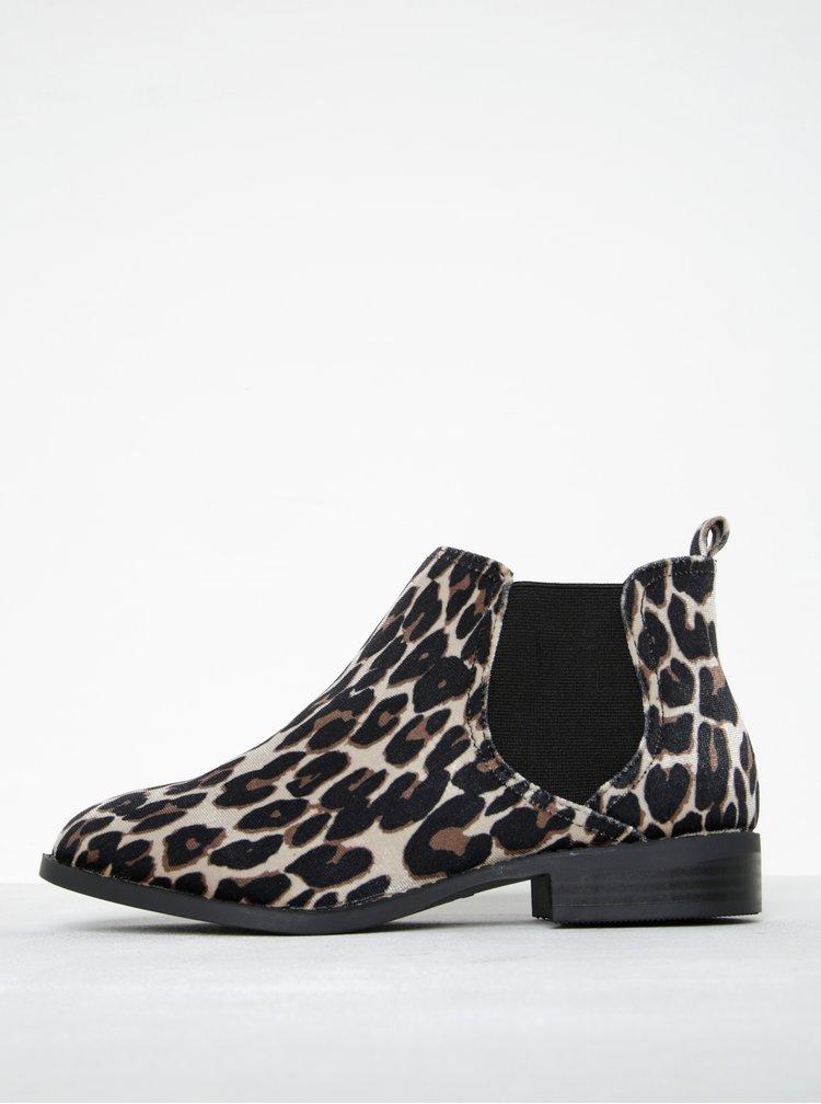 Béžovo-čierne chelsea topánky s leopardím vzorom Dorothy Perkins