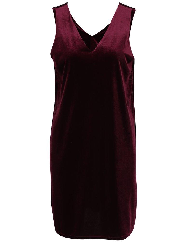 Vínové sametové šaty s véčkovým výstřihem VERO MODA Agnes