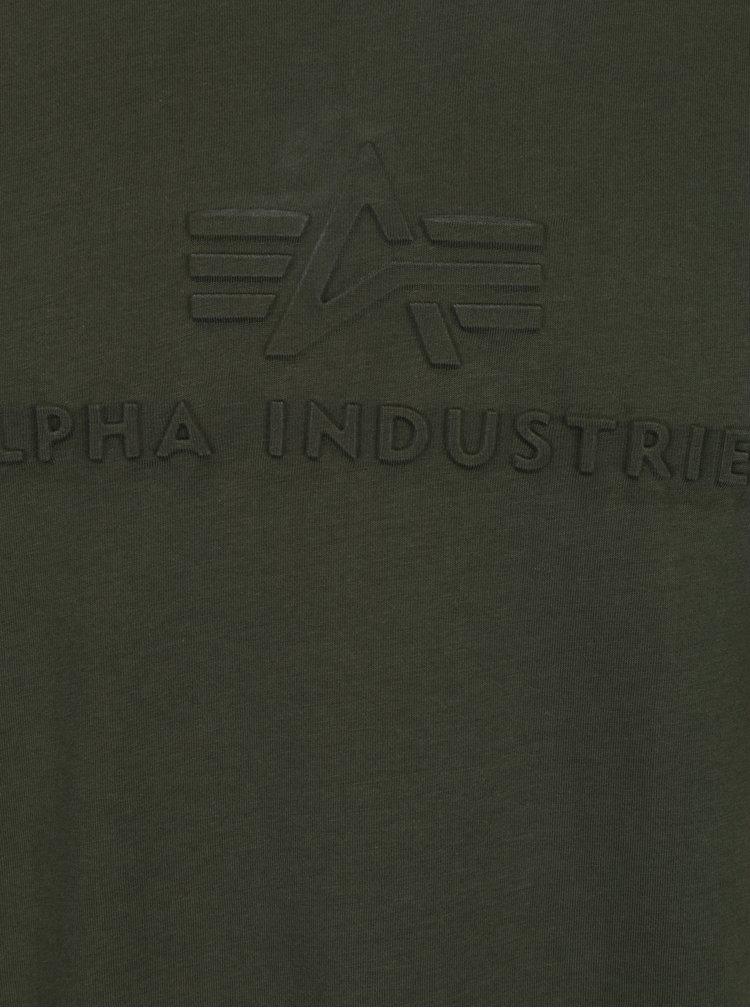 Tricou verde închis cu print text ALPHA INDUSTRIES