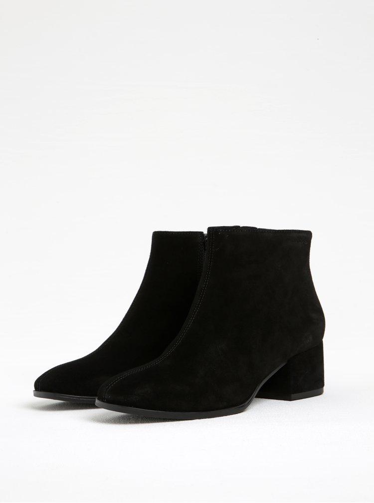 Černé dámské semišové kotníkové boty na podpatku Vagabond Daisy