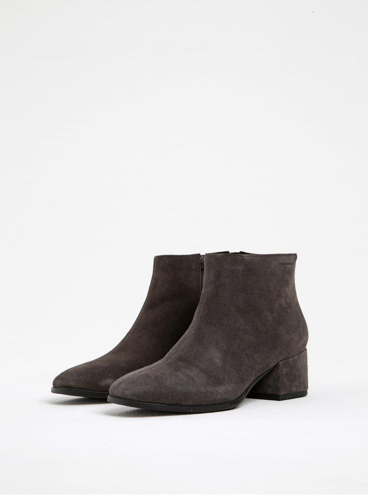 Tmavě šedé dámské semišové kotníkové boty na podpatku Vagabond Daisy