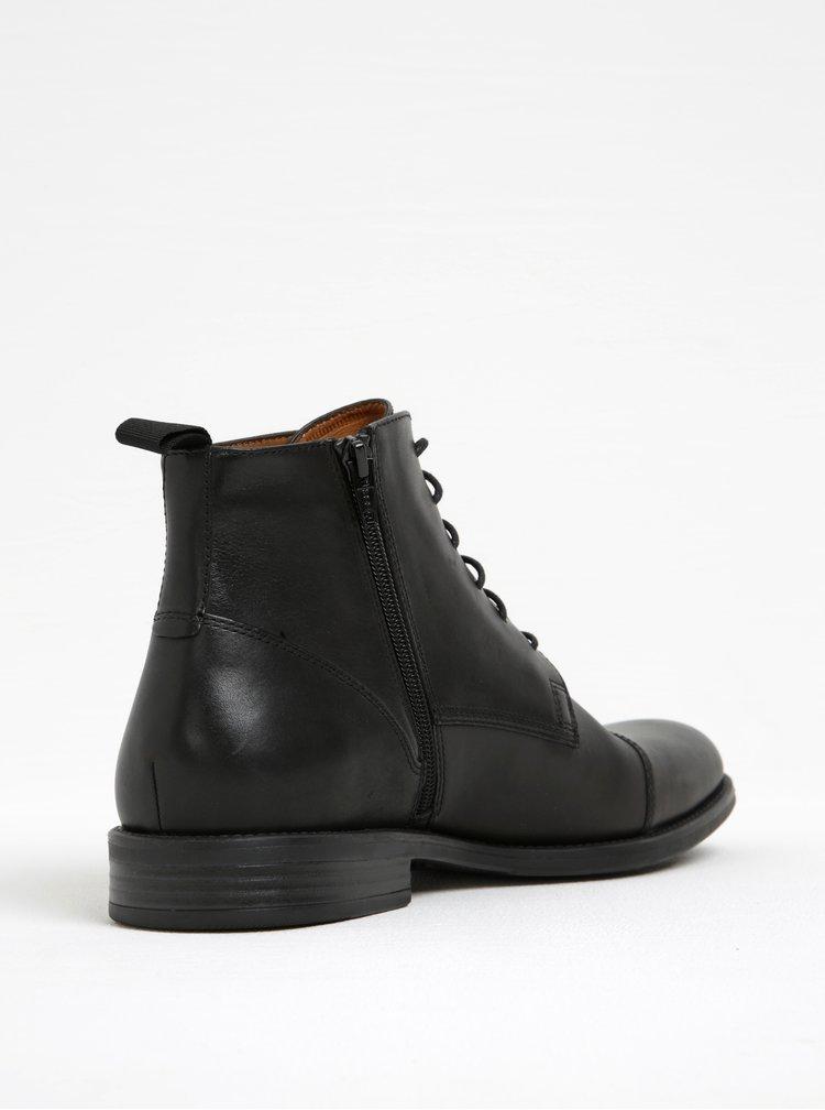 Černé pánské kožené kotníkové boty Vagabond Salvatore