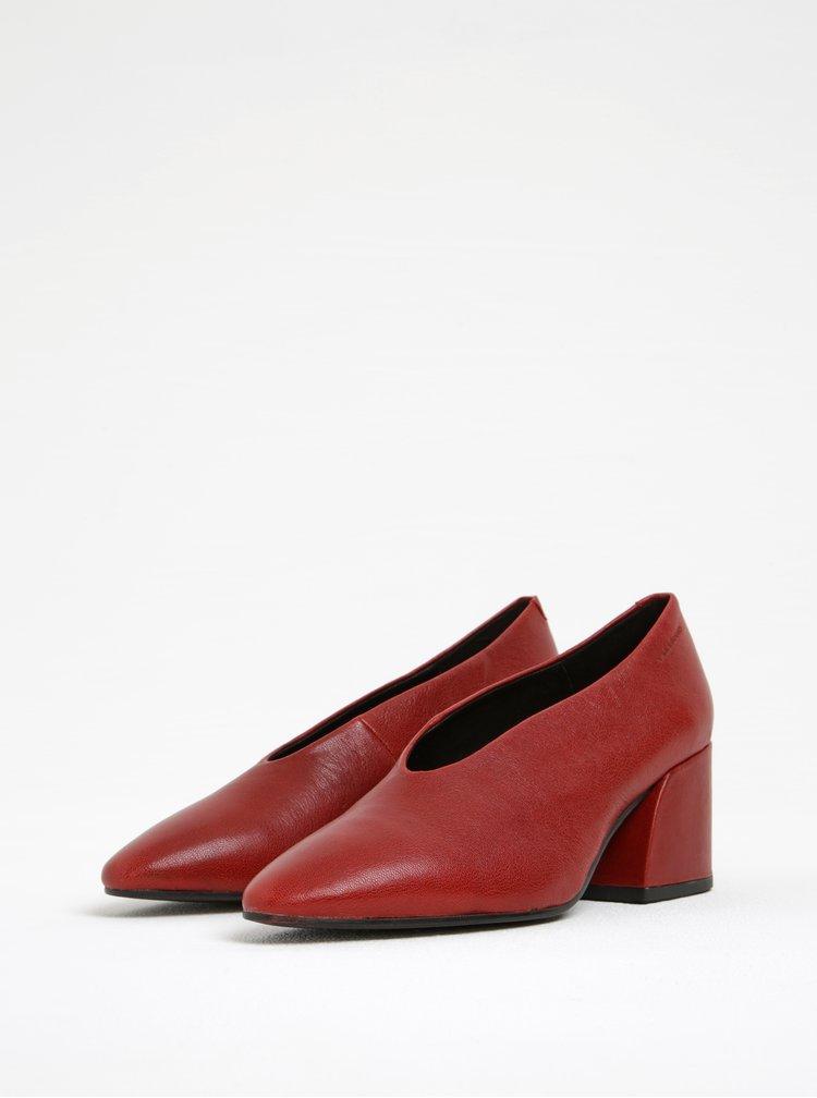 Červené kožené lodičky na širokém podpatku Vagabond Olivia