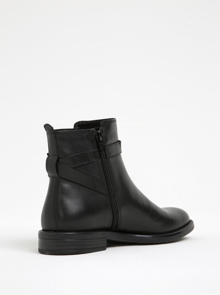 Černé dámské kožené kotníkové boty s přezkou Vagabond Amina
