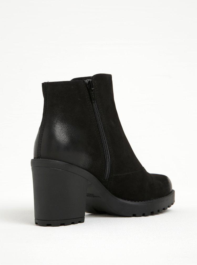 Černé dámské kožené kotníkové boty na širokém podpatku Vagabond Grace
