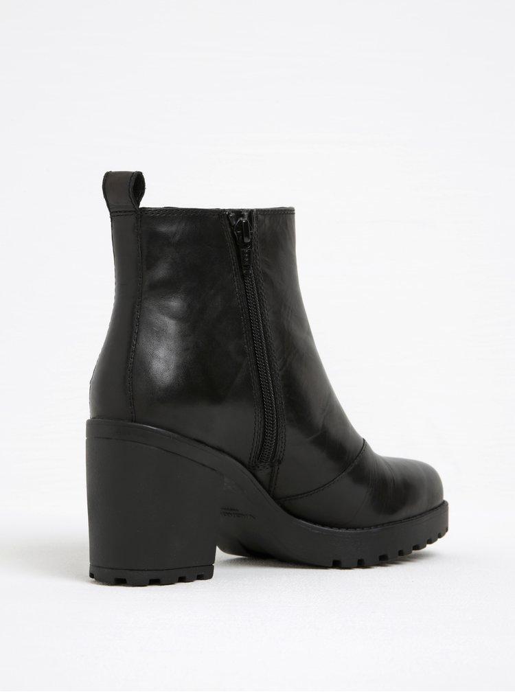 Černé dámské kožené chelsea boty na podpatku Vagabond Grace