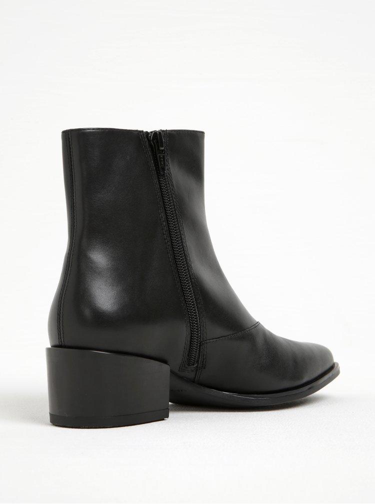 Černé dámské kožené kotníkové boty na podpatku Vagabond Marja