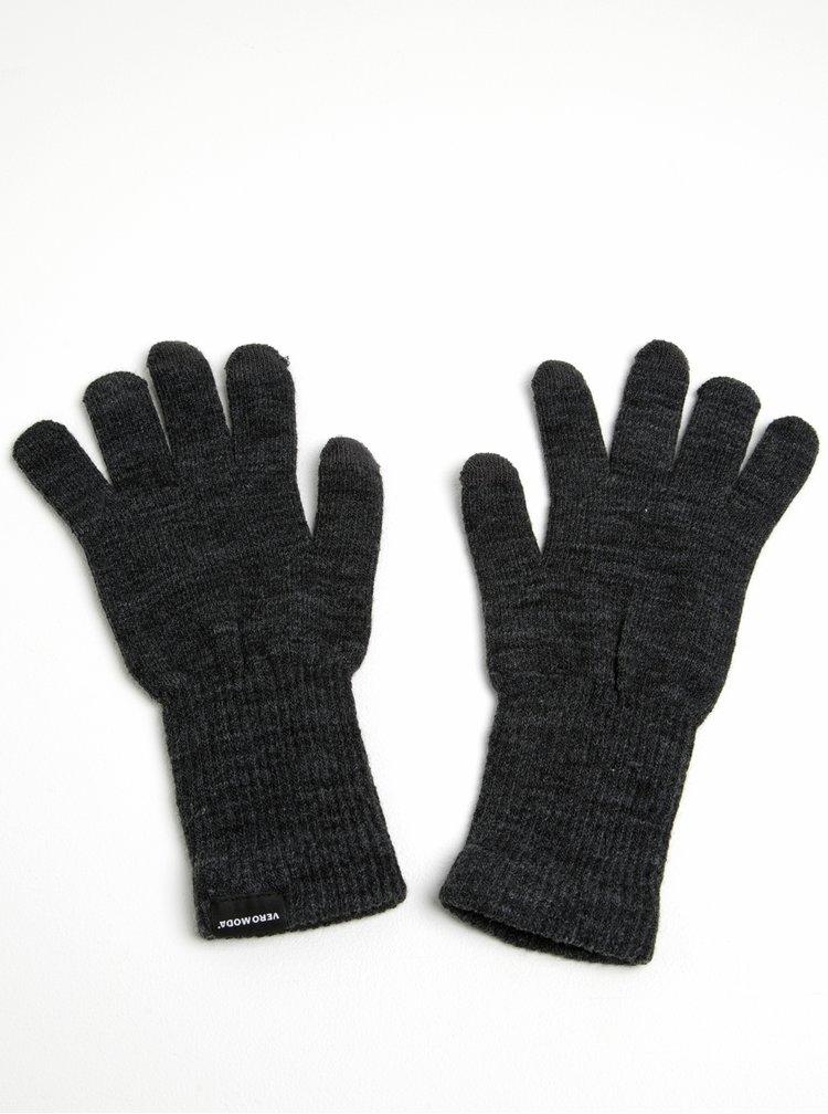Tmavě šedé žíhané rukavice VERO MODA Nete