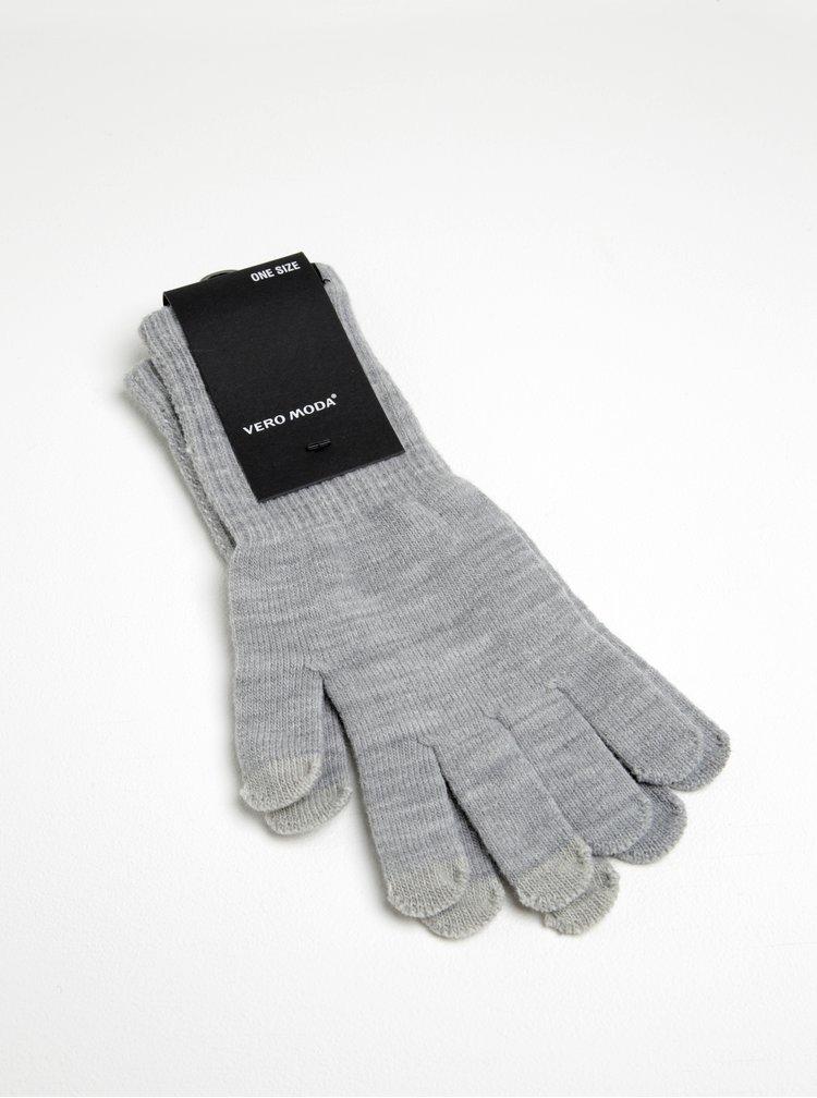 Světle šedé žíhané rukavice VERO MODA Nete
